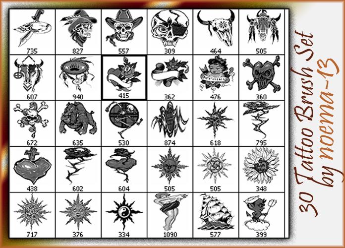 30种恶魔系纹身刺青图案Photoshop笔刷下载