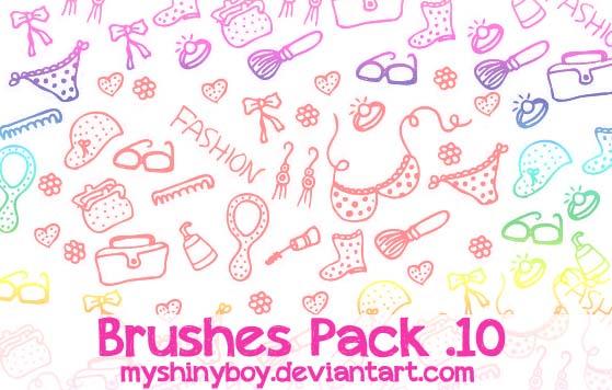 10种可爱生活元素图案装扮Photoshop童趣少女心笔刷