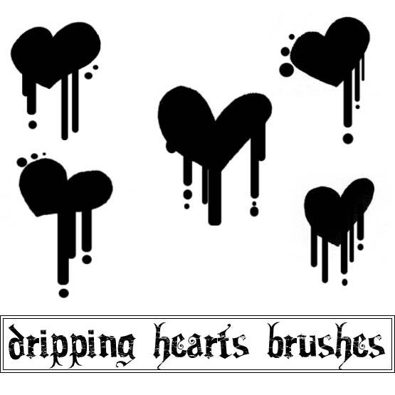 喷溅式爱心涂鸦图案Photoshop笔刷下载