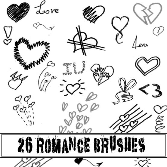 可爱童趣爱心、心形图案Photoshop美图笔刷素材下载