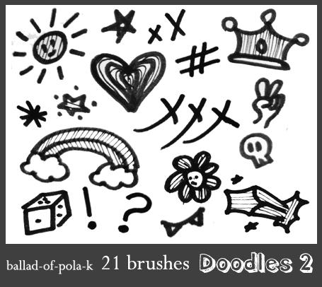 童趣涂鸦爱心、彩虹、皇冠、太阳、星星等图案PS呆萌笔刷素材