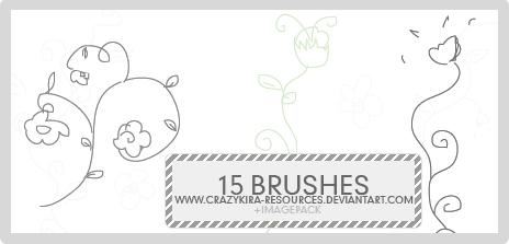 15种手绘优雅的线条花纹图案PS笔刷下载