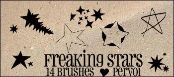 14种五角星、星星图案Photoshop笔刷素材下载