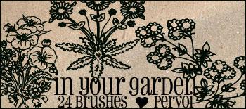 手绘野草、野花花纹图案Photoshop笔刷下载