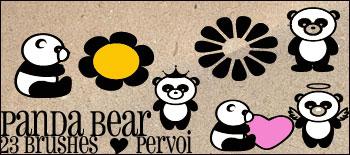 23种卡通熊猫图案Photoshop美图笔刷下载