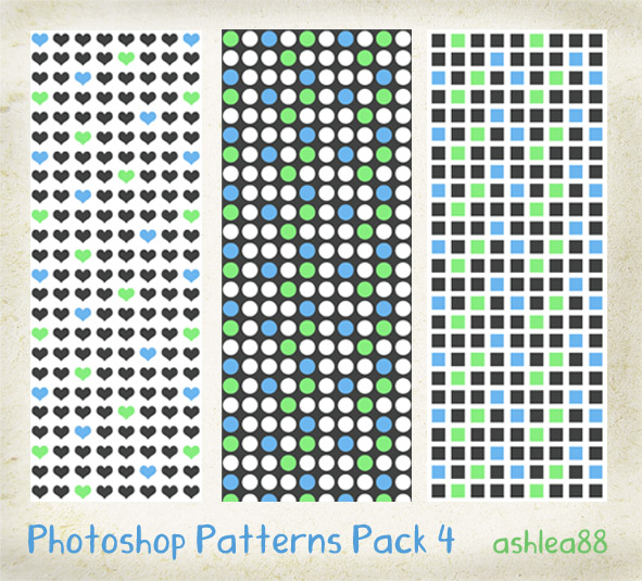 小清新背景红桃心、圆点、方块等Photoshop填充图案文件底纹素材 .pat 下载