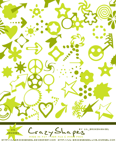 各种菱形花纹、五角星图案、箭头标记等PS笔刷下载