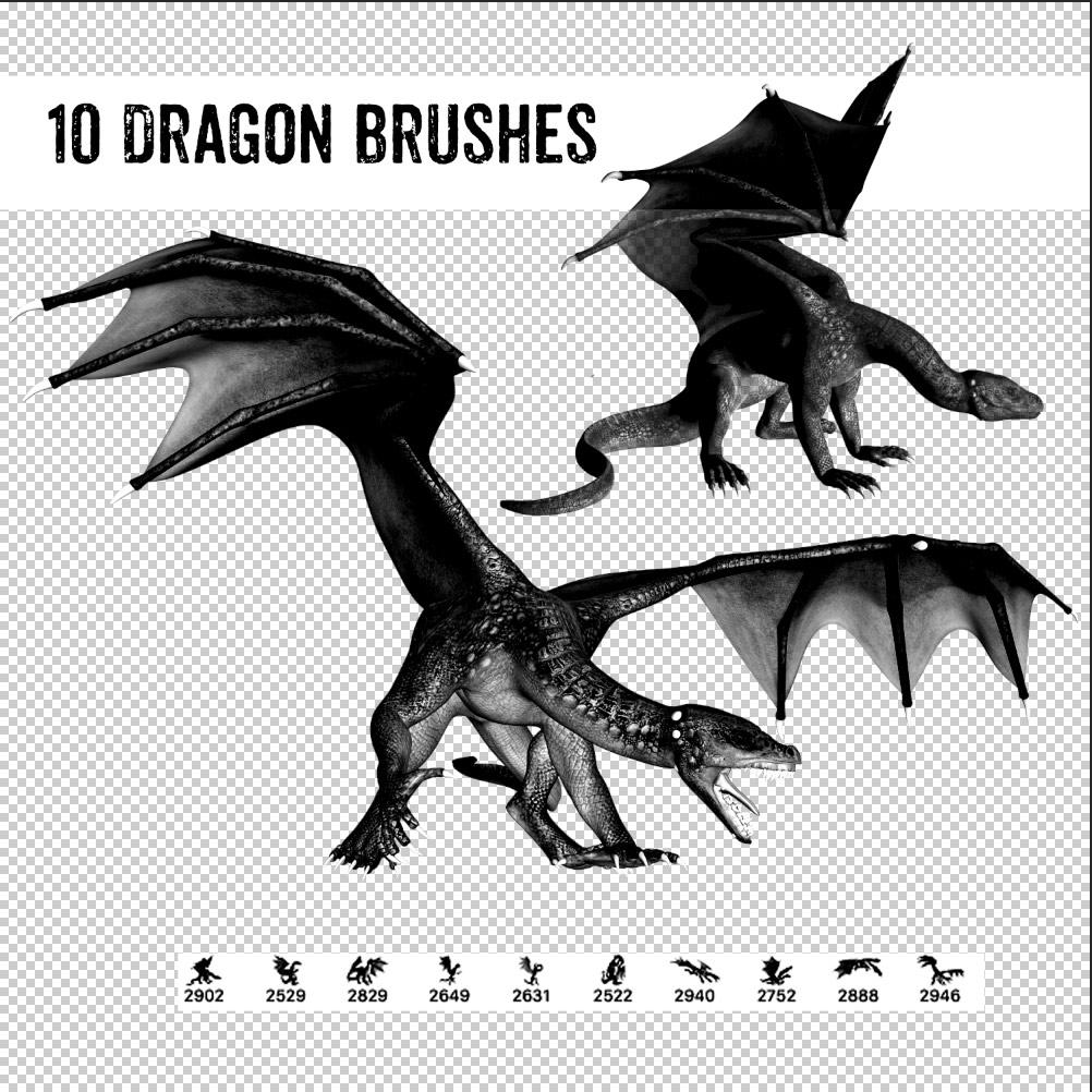 10种西方恶龙、蜥蜴魔龙图案Photoshop笔刷下载