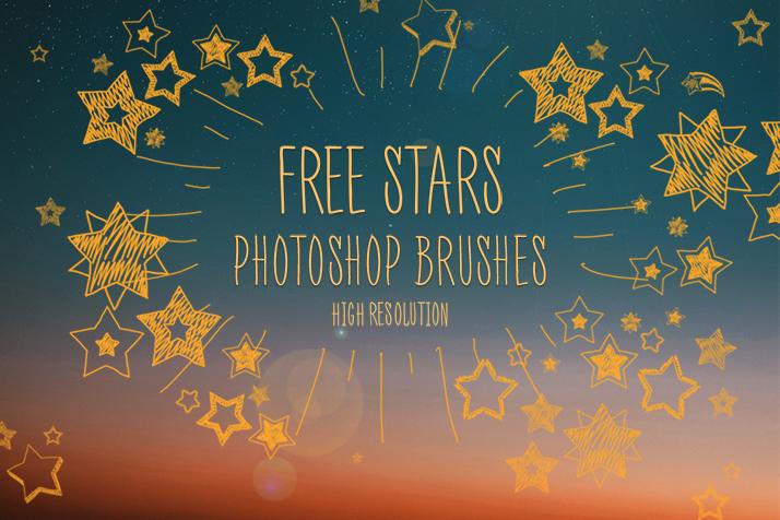 童趣手绘涂鸦星星图案、可爱的五角星PS照片美图笔刷
