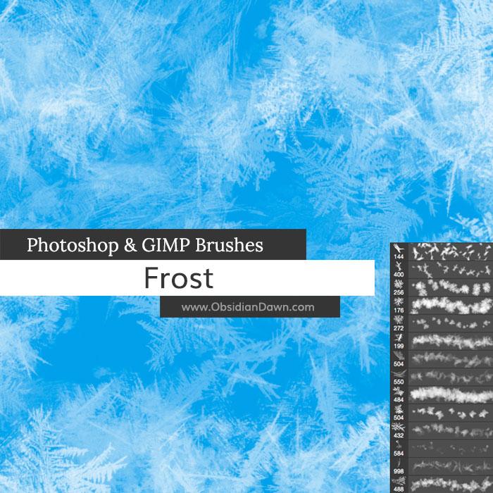 寒冷的冰霜、霜冻花纹、冰花图案、冰晶Photoshop笔刷下载