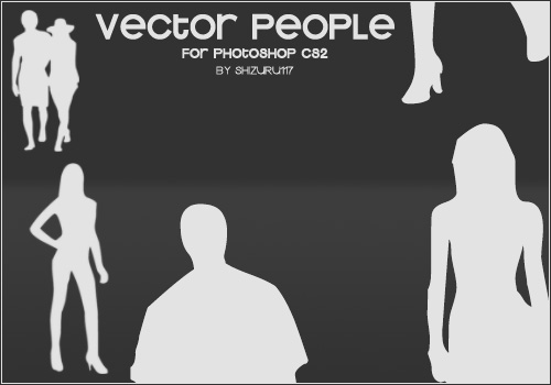 矢量剪贴画风格的男性、女性轮廓剪影PS笔刷素材下载