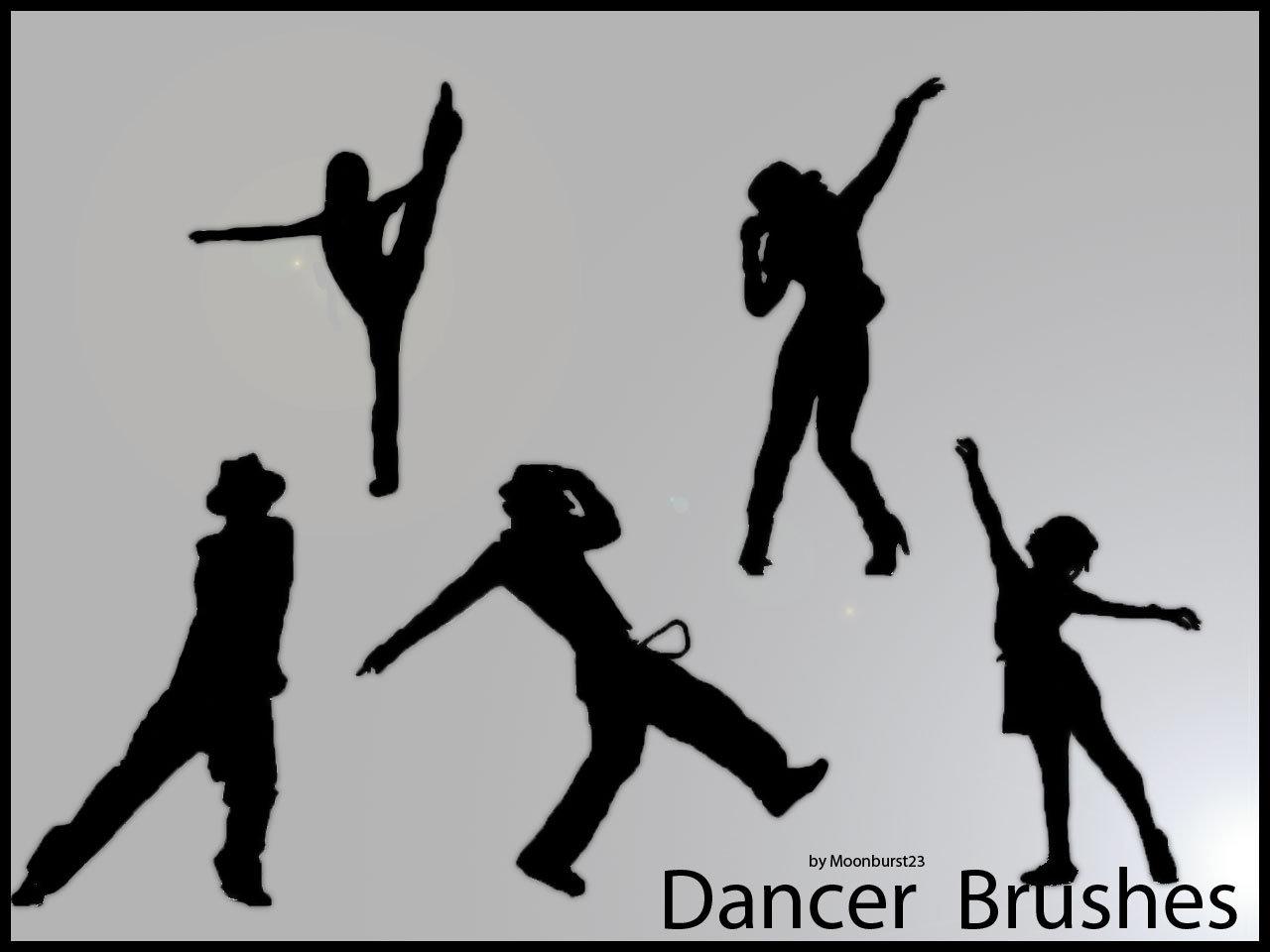 时尚舞蹈姿势人像剪影图形Photoshop笔刷下载
