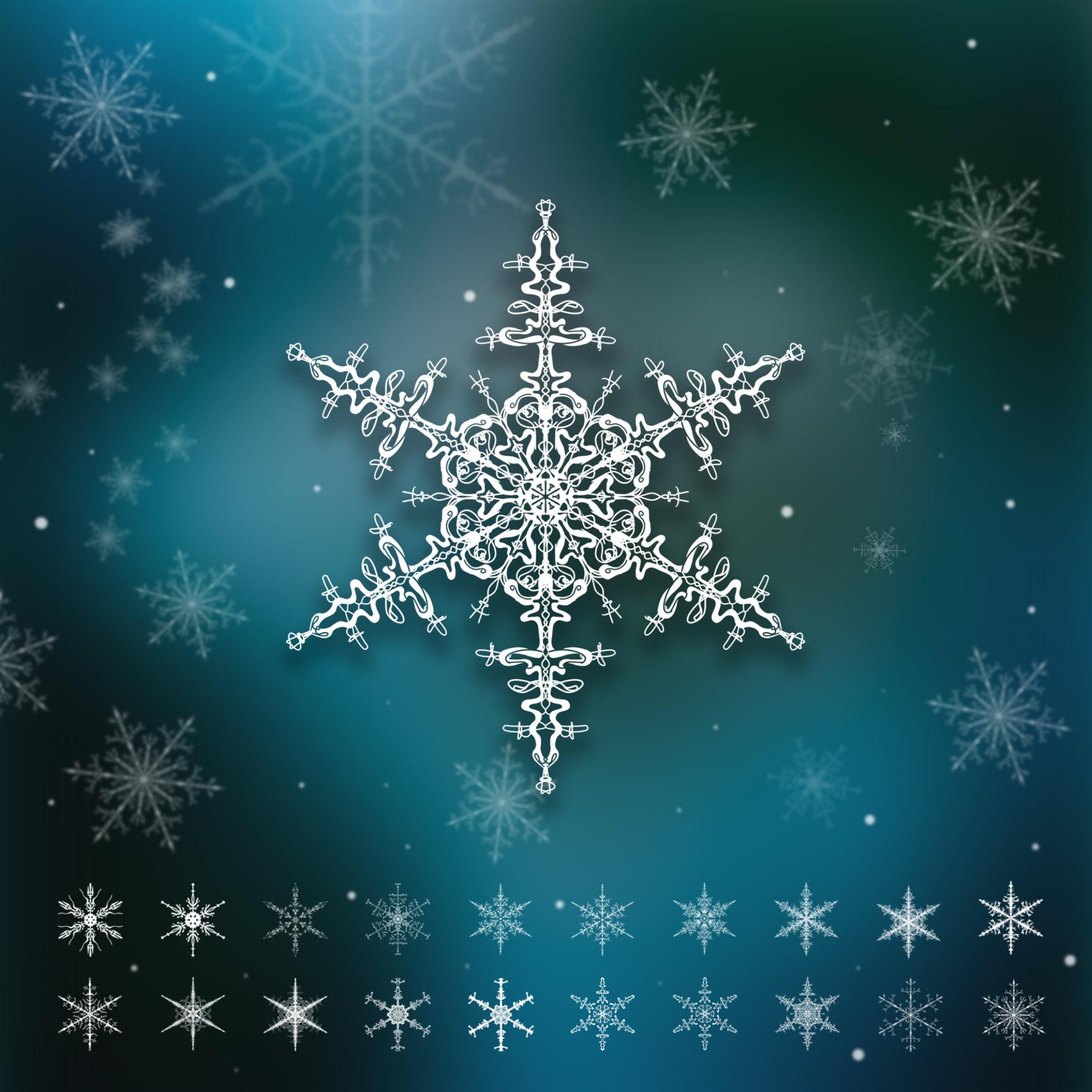 漂亮精美的手绘雪花、雪片花纹图案Photoshop笔刷下载