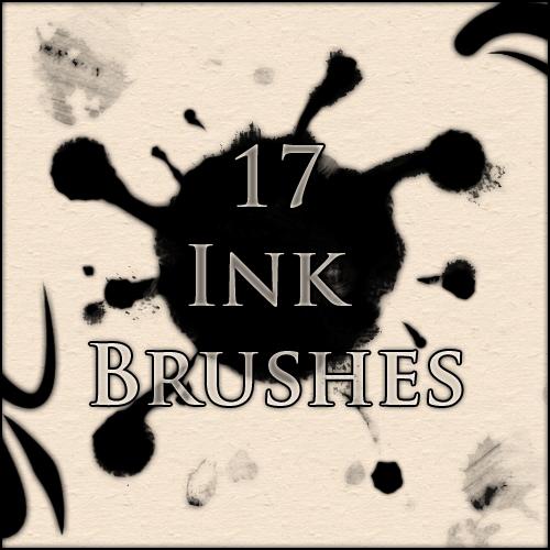 17种墨水痕迹、滴染效果PS笔刷下载