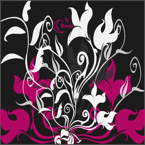 漂亮的矢量风格的植物花朵印花图案Photoshop笔刷下载