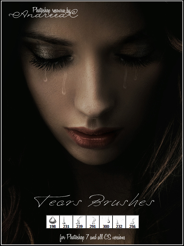 流泪、眼泪、泪珠Photoshop笔刷素材免费下载