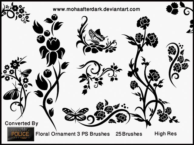 优雅漂亮的植物鲜花、蝴蝶印花花纹Photoshop笔刷素材下载