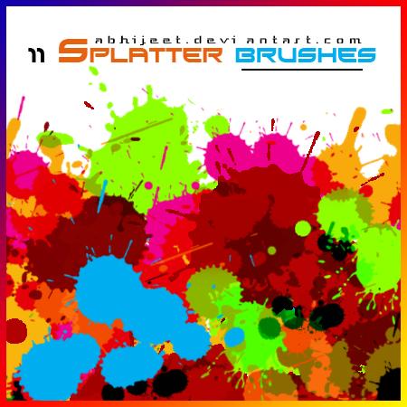 11种水彩油漆滴溅效果PS笔刷素材下载