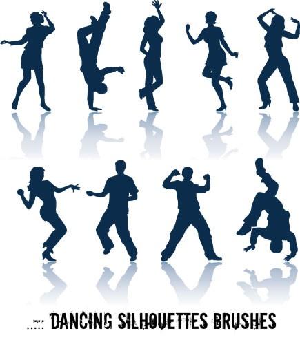 街舞表演秀人体轮廓剪影图形素材PS笔刷下载