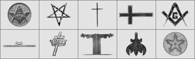 十字架、五角星等共济会元素图案Photoshop笔刷下载