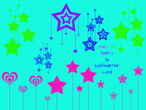 非主流时尚爱心、星星图案背景装饰Photoshop笔刷下载