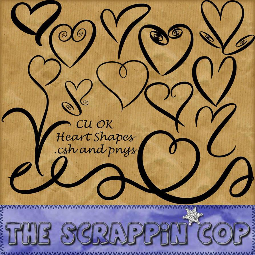 手绘涂鸦线条心形、爱心图案Photoshop自定义形状素材 .csh 下载