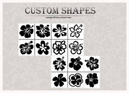 漂亮的手绘花朵图案photoshop自定义形状素材 .csh 下载