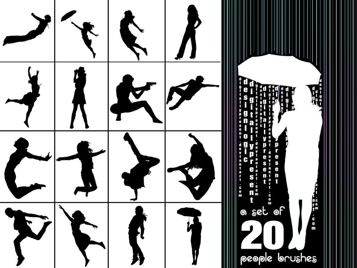 20种舞蹈姿势图案Photoshop轮廓剪影素材笔刷