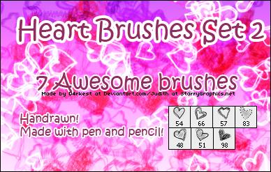 7种铅笔、蜡笔涂鸦纹理心形、爱心图形PS笔刷下载