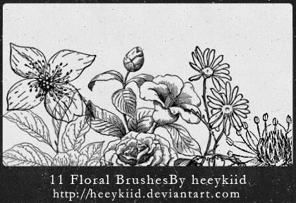 11种手绘鲜花花朵图案风格Photoshop花纹笔刷素材