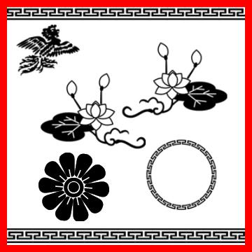 中国传统莲花、睡莲、凤凰等图案装饰Photoshop笔刷下载