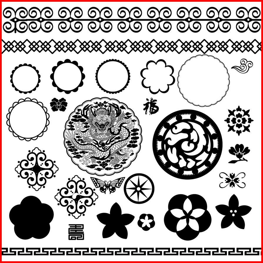 中国传统风格的花纹装饰、窗花图案Photoshop印花笔刷素材