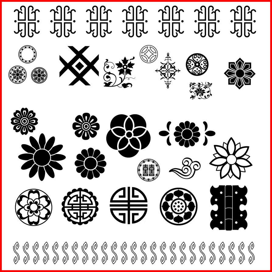 漂亮精美的中华传统印花Photoshop花纹笔刷素材