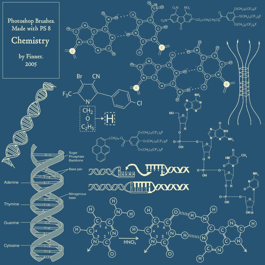 医药化学分子结构、DNA图形等Photoshop科技、科学、生命工程元素背景装饰笔刷