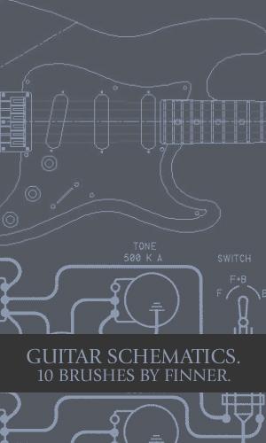 吉他线框示意图Photoshop笔刷素材下载