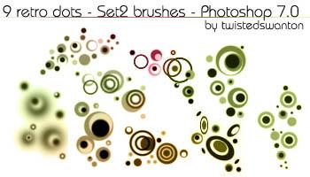 9种非主流时尚同心圆图案Photoshop笔刷下载