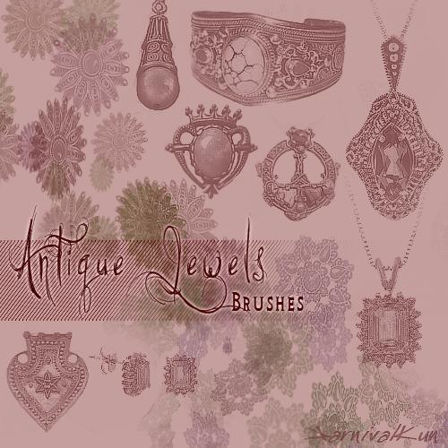 真实的宝石项链、宝石挂坠等珠宝首饰PS笔刷素材