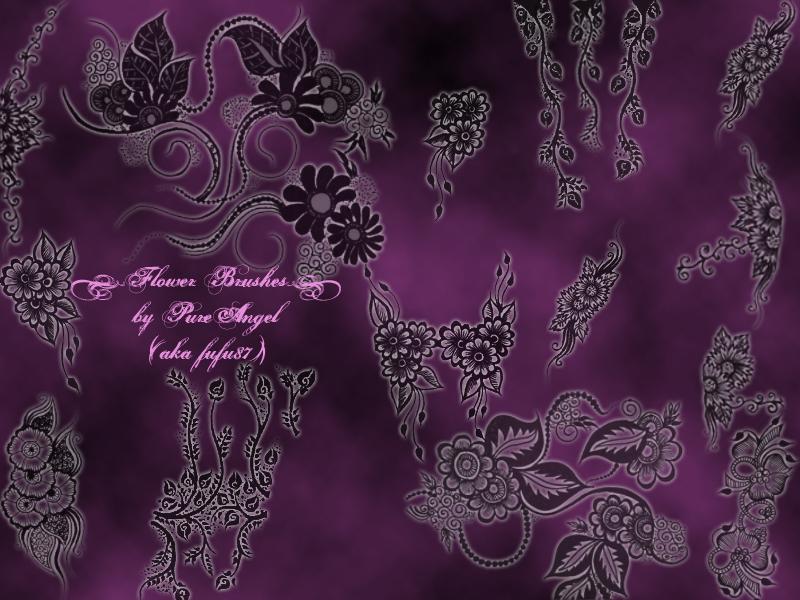漂亮精美的鲜花图案艺术花纹Photoshop印花笔刷素材