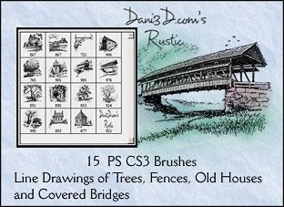 15种乡村建组描绘图案PS笔刷下载