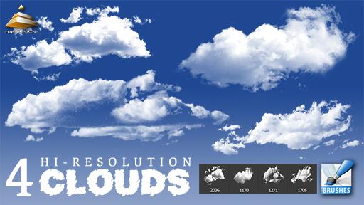 4种天空中高清云朵图像Photoshop笔刷下载