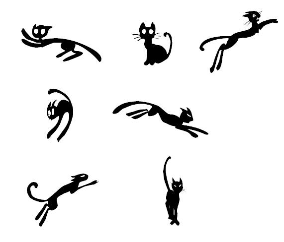 黑猫剪影图形Photoshop笔刷下载