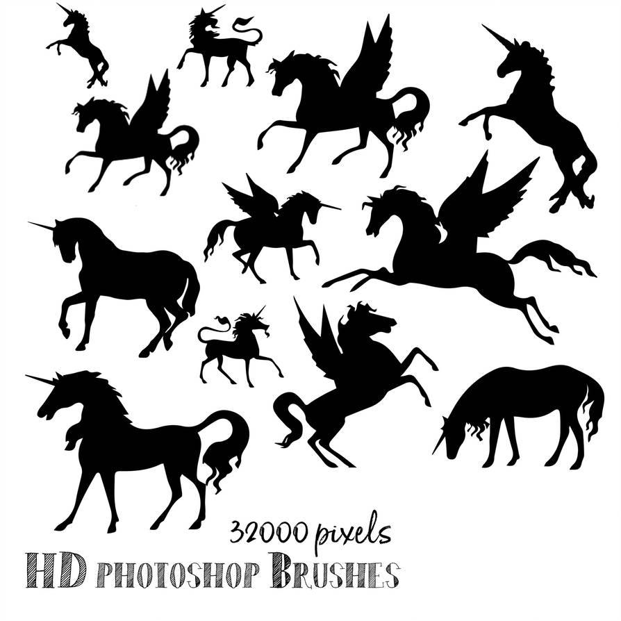 天马、独角兽等剪影图像Photoshop笔刷下载