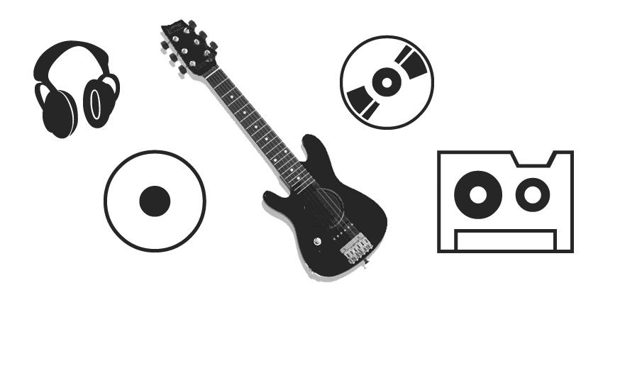 唱片、CD碟片、磁带、耳麦、吉他等图形PS音乐笔刷下载