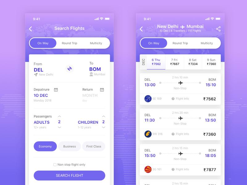 航空公司App模板 - 界面设计素材 Sketch App模板下载