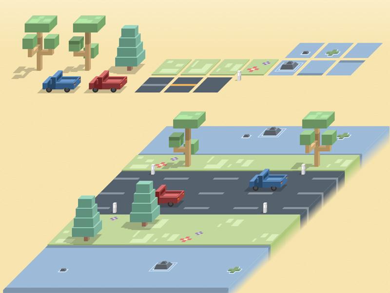 像素风格式等比街道、景观图 - Sketch 模板设计素材下载