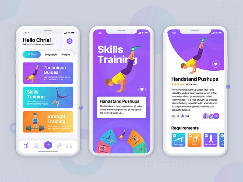 运动健身类 IOS App UI 模板素材 - Sketch模板免费下载