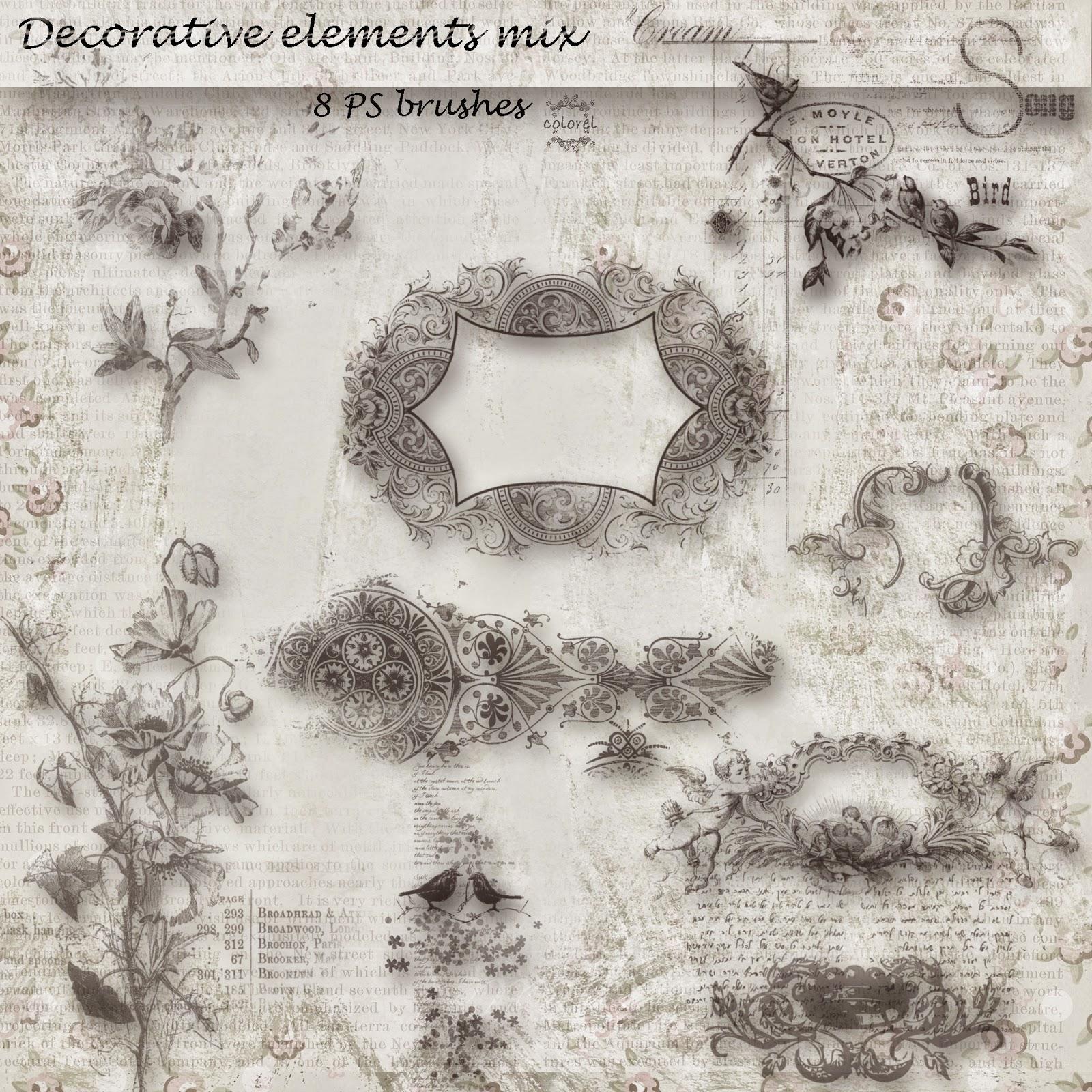 混合式装饰性花纹图案Photoshop笔刷素材