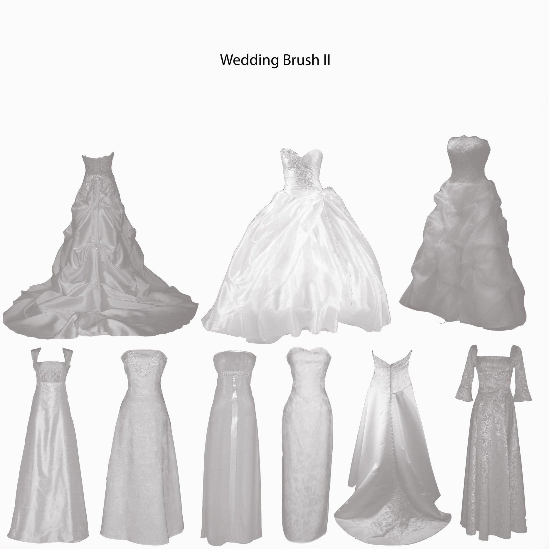 婚纱、伴娘服、礼裙、晚礼服等PS结婚笔刷素材