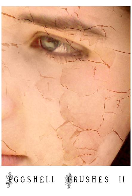 蛋壳破碎纹理、裂痕纹理材质Photoshop笔刷下载