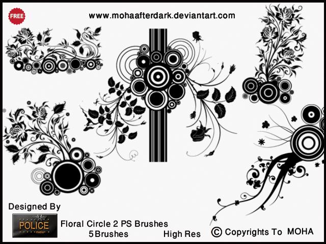 漂亮丰富的植物花圈图案、艺术花纹装饰Photoshop笔刷下载